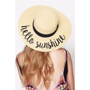🆕Hello Sunshine Embroidered Floppy Sun Hat